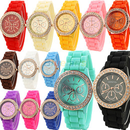 Wholesale Geneva Girl Watches - Wholesale-Geneva Silicone Golden Crystal Stone Quartz Ladies Women Girl Jelly Wrist Watch Candy Colors Free Shipping 001K