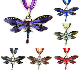 Wholesale Crystal Dragonfly Necklace - Brand New Hot Gold Dragonfly Pendant Crystal Necklace Beautiful Alloy Animal Jewelry 6 colors For chose Factory Price Free Shipping