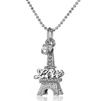 Wholesale Eiffel Tower Pendant Necklace - Crystal Eiffel Tower Necklace New Hot Alloy Love Wedding Pendant Necklace Good Jewelry for Women Girls Birthday Gift Free Shipping