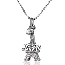 Wholesale Eiffel Silver Necklaces Charms - Crystal Eiffel Tower Necklace New Hot Alloy Love Wedding Pendant Necklace Good Jewelry for Women Girls Birthday Gift Free Shipping