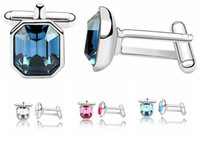 Wholesale Crystal Mens Cuff Links - Blue Square Crystal Shirt Cufflinks For Mens made with Swarovski Elements Cuff Links Designer Brand Abotoaduras 2995