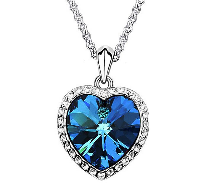 Wholesale blue crystal heart pendants necklaces white gold plated wholesale blue crystal heart pendants necklaces white gold plated bridal wedding jewelry fashion women necklace made with swarovski elements 5476 long aloadofball Images