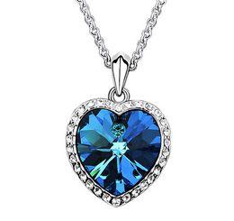 Wholesale Swarovski Blue Pendant - Blue Crystal Heart Pendants Necklaces White Gold Plated Bridal Wedding Jewelry fashion women Necklace made with Swarovski Elements 5476