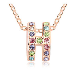 Wholesale Gold Jewellery Brands - New Arrival Best Selling Fashion Brand jewelry Crystal Pendant Necklace 18K Rose Gold Plated lady Jewellery 10483