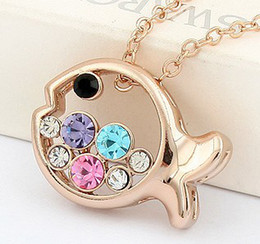 Wholesale Cheap Rose Gold Necklaces - Rose Gold Plated Necklaces Pendants Fashion Accessories For Women Crystal Necklaces Cheap Jewelry made with Swarovski Elements 4475