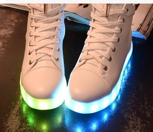mulheres sapatos luminosos light-emitting alto-topo de luz com luzes coloridas, cobrando fluorescente