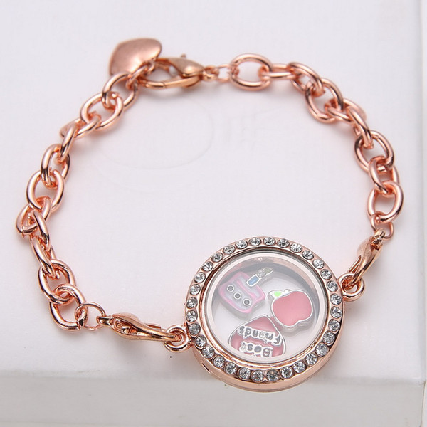 best selling New 5pcs Silver Crystal Heart Living Memory Locket Bracelet For Floating Charms Free shipping