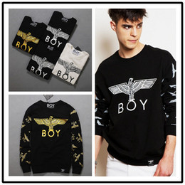 Wholesale White Boy London Sweatshirt - Wholesale- autumn new boy london gilt eagl pullover sweatshirts men fashion jacket eagle couple models casual long sleeve T shirt