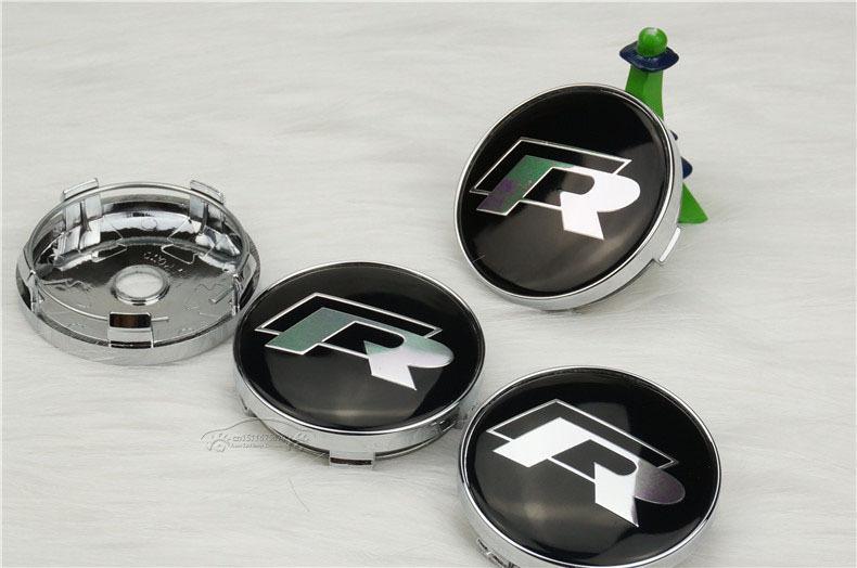 4 x black r line rline 60mm wheel hub center logo caps. Black Bedroom Furniture Sets. Home Design Ideas