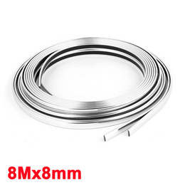 Wholesale Silver Moulding Trim - 8mm Width Silver Tone Flexable Plastic 8M Decor Moulding Trim Strip Decor