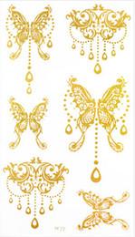 Wholesale Tattoo Designs Hand Butterfly - 10*17.5cm Butterfly Design Women Leg arm hand body Gold Tattoo Stickers Waterproof Temporary Glitter Tattoo Sticker