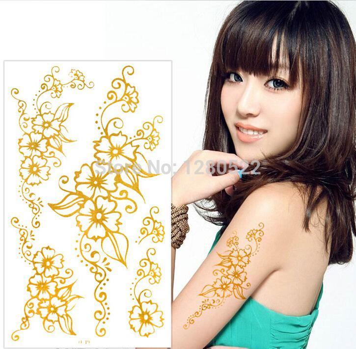3 feuilles temporaires de tatouage d 39 or brillant autocollants fleur henn tatouage autocollant. Black Bedroom Furniture Sets. Home Design Ideas