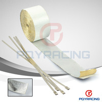 Wholesale Reinforced Aluminum - PQY STORE-Car Aluminum Reinforced Tape Adhesive Backed Heat Shield Resistant Wrap For Intake pipe WITH 4PCS TIES PQY1612