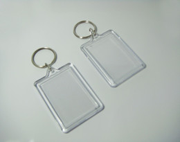 "Wholesale Pictures Logos - Wholesale-50pcs Bigger Blank Acrylic Rectangle Photo Keychains Insert Picture &Logo Keyrings Key tag 2.25""x 1.65"" - Free"