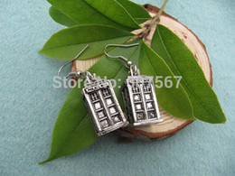 Wholesale Dr Charms - Wholesale Time Lord inspired charm TARDIS jewelry dr who Police Box earrings,charm earring