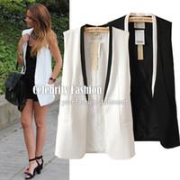 Wholesale Women S White Tuxedo Jacket - Wholesale-CT37 Celebrity Style Women Tailored Tuxedo Vest Waistcoat Sleeveless Blazer Jacket Vest Coat Plus Size 2014 New Free Shipping