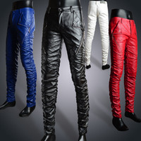 Wholesale Men S Blue Leather Pants - Wholesale-Free shipping ! New Arrival fashion leather trousers male tight leather pants skinny pants red slim male leather pants blue