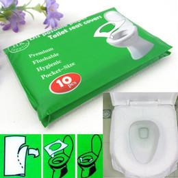 Wholesale Disposable Seat - Wholesale-5 Packs 50Pcs lot Disposable Paper Toilet Seat Covers Camping Festival Travel Loo bathroom set accessories