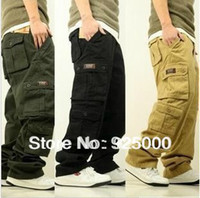 Wholesale Jeans Cargo Capris - Wholesale-Free Shipping Fashion Men's Cargo Pants Loose Overalls Men Casual Multi Pocket Leisure Jeans Hiphop Skating Pants