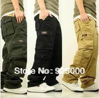 mann cargo jeans hose großhandel-Wholesale-Free Verschiffen-Art- und Weisemänner Ladung keucht lose Overall-Mann-beiläufige Mehrfachtaschen-Freizeit-Jeans-Hip-Hop-Eislauf-Hosen