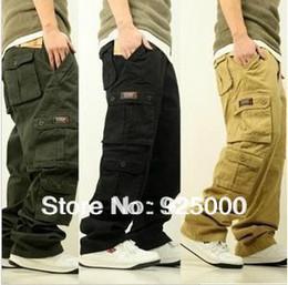 Wholesale Black Jeans Men Bootcut - Wholesale-Free Shipping Fashion Men's Cargo Pants Loose Overalls Men Casual Multi Pocket Leisure Jeans Hiphop Skating Pants