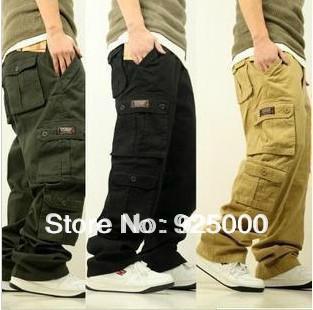 Toptan-Ücretsiz Kargo Moda Erkek Kargo Pantolon Gevşek Tulum Erkekler Casual Çok Cep Leisure Jeans Hiphop Paten Pantolon