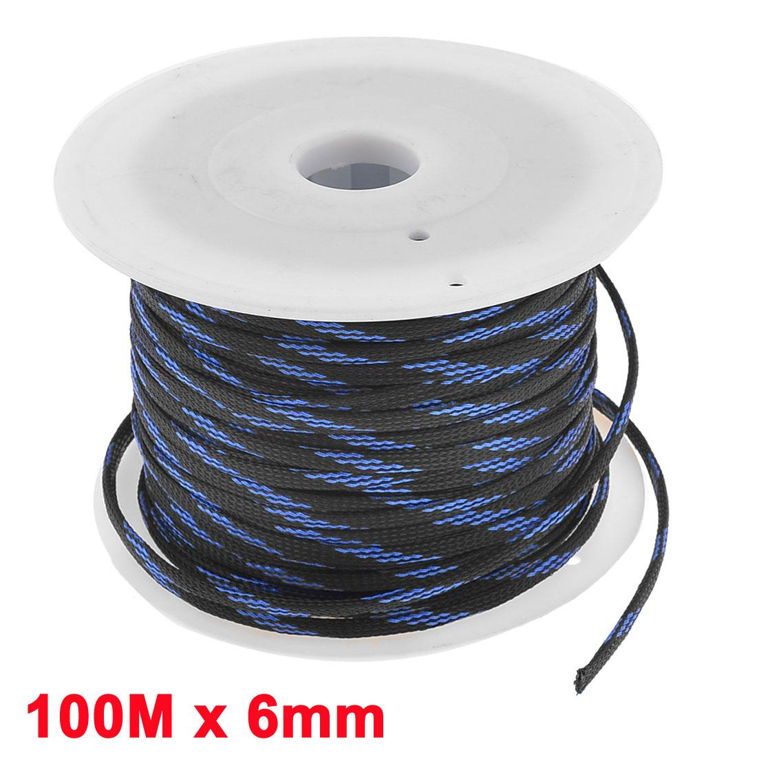 Car Audio Braided Polyester Sleeving Cable Cover Coil Blue Black ...