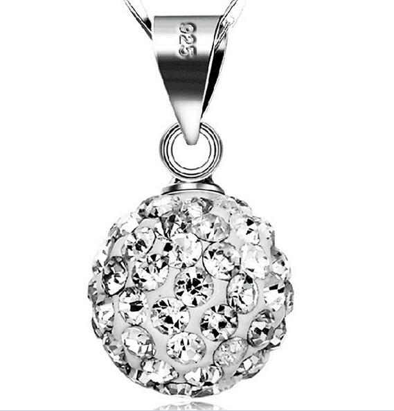 925 Sterling Silver Pendant Necklace Woman Luxury Zirconia Crystal Pendant Water Necklace Fashion Trendy Ball Jewelry free shipping