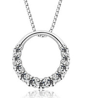 Wholesale Sterling Silver Circle Link - 925 Sterling Silver Pendant Necklace Woman 11PCS Zirconia Crystal 1.2cm*1.2cm Round Ring Pendant Water Necklace free shipping