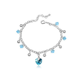 Wholesale Austrian Crystal Bracelet Swarovski - Women Fashion Bracelets Austrian Crystal Jewelry Heart Pendants Bracelets made with Swarovski Elements Fashion Accessories For Women 7901