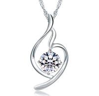 amethyst anhänger herz großhandel-Frauen Herz Anhänger Halskette 925 Sterling Silber Damen Luxus Zirkonia Amethyst Kristall Anhänger Wasser Halskette Lila / Silber Farbe