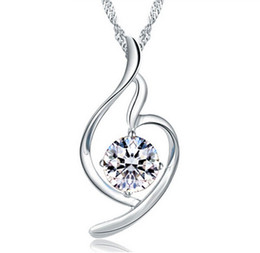 Wholesale purple heart necklace crystal - Women Heart Pendant Necklace 925 Sterling Silver Ladies Luxury Zirconia Amethyst Crystal Pendant Water Necklace Purple Silver Color