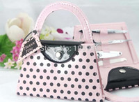 Wholesale Purse Favors - Wholesale-64pcs=16set LOT Pink Polka Dot Purse Manicure Set favor wedding bridal shower favors and gifts