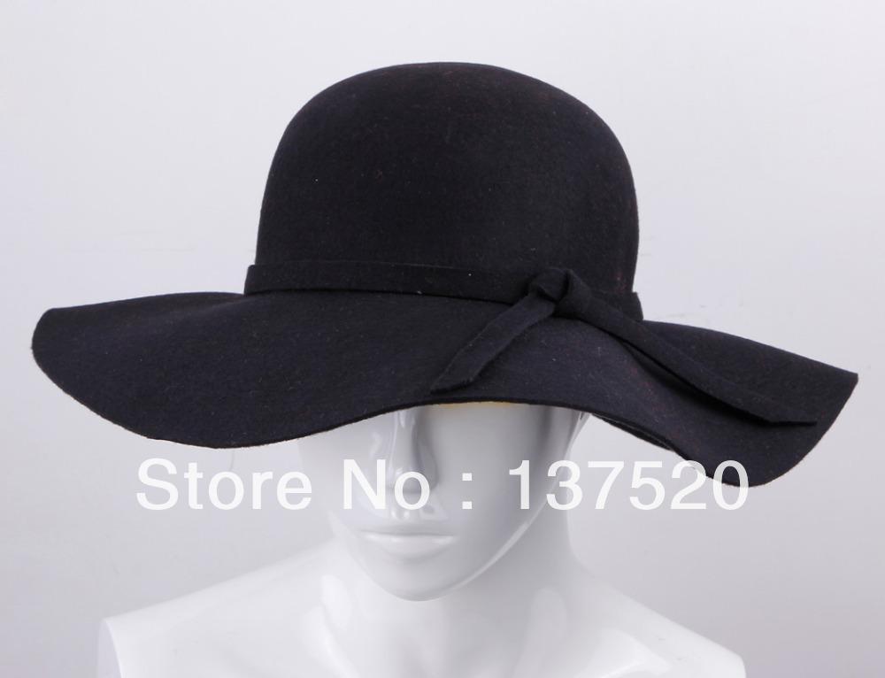 bd8fcf97a4b57 2019 Wholesale 2013 NEW Black Vintage Wool Felt Crushable Wide Brim Cloche  Fedora Floppy Sun Beach Hat Cap Goth Bowknot Band From Stylenew