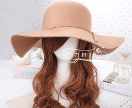 Wholesale New Bowler - Wholesale-New Arrival ! RetroStyle Women Lady Wide Brim 100% Wool Felt Bowler Fedora Hats Floppy Cloche Hot