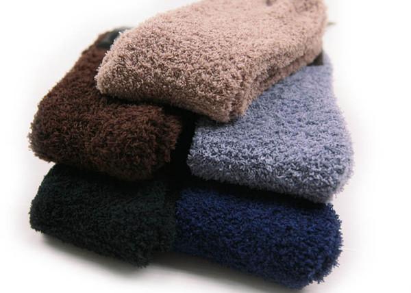 Großhandels-Superverkauf Winter-warme Mann-starke korallenrote Vlies-Socken Super warme thermische Socken weich 5 Paare / Losgröße 42-48 Freies Verschiffen NWM039