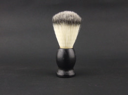 Wholesale Shaving Brush Handles - Shaving Brush Black Wooden handle artificial fiber hair total length 11CM 12PCS LOT W-009 Low price NEW