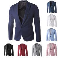 корейские повседневные блейзеры для мужчин оптовых-Оптовая продажа-новое прибытие одной кнопки досуг блейзеры мужчины мужчины 2014 корейский мода Slim Fit повседневная Красный темно-синий блейзер одежда M-XXL
