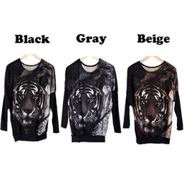 Wholesale Holiday Jumpers - Wholesale-holiday sale!! New Stylish Women's Jumper Tiger Print Sweater Pullover Batwing Knitwear Casual Tops