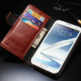 Wholesale Iphone Book Style - Wholesale-Retro Book Style PU Leather Stand case for Samsung Galaxy Note 2 II N7100 Luxury with Credit Card Slot Business Brown Black