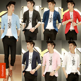 Wholesale Colored Suit Jackets - Wholesale-Summer New Korean Mens Colored Suits Designer Blazers For Men 2014 Slim Fit Jacket Men's Casual Suit Plus Size M-XXXL