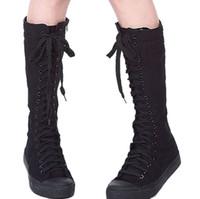botas planas de lona al por mayor-Al por mayor-Nuevo estilo en la lista de moda para mujer de lona con cordones hasta la rodilla Botas altas Zapatillas planas ocasionales altos zapatos punk envío gratis NVX006