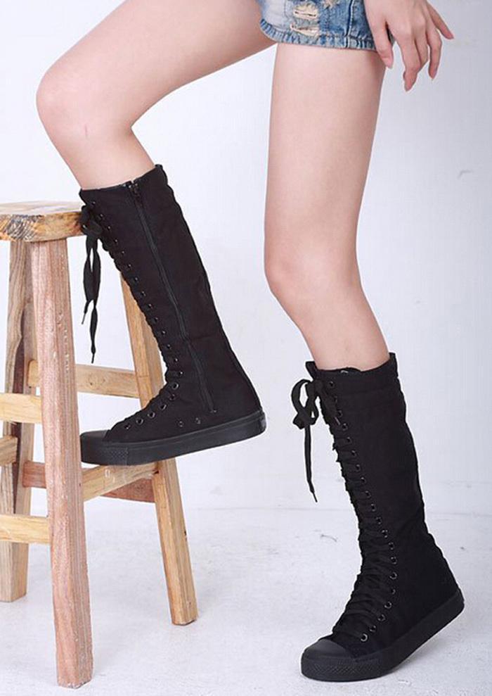 Atacado-Novo estilo na lista moda Womens Canvas Lace Up Joelho Botas Altas Planas Sapatos Casuais Altos Do Punk Frete grátis NVX006