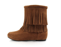 Wholesale Girls Boot Wedge - Wholesale-2014 Winter New Fashion Women Pretty Cute Womens Girls Splip on Nubuck Leather Flat Tassel Ankle Boots Winter fringe boots