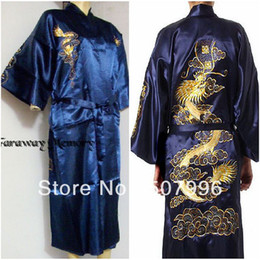 Wholesale Chinese Satin Kimono Robe - Wholesale-Navy Blue Chinese Men's Silk Satin Embroidery Robe Kimono Bath Gown Dragon Sleepwear M L XL XXL D-1129