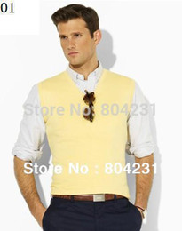 Wholesale Polo Vest Xl Black - Wholesale-2014 polo man's sweater vest sleeveless design free shipping man V neck sweaters with tags xxxl avaible