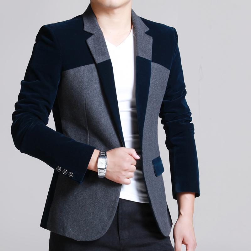 2018 Wholesale Autumn Fashion Men'S Velvet Wool Patchwork ...