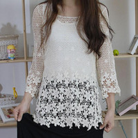 Оптово-БУТИК ЖЕНСКОЙ ПОЛЫМ CROCHET BAT SLEEVE CREW NECK LOOSE ШНУРКА KNIT Смок ФГП-63470