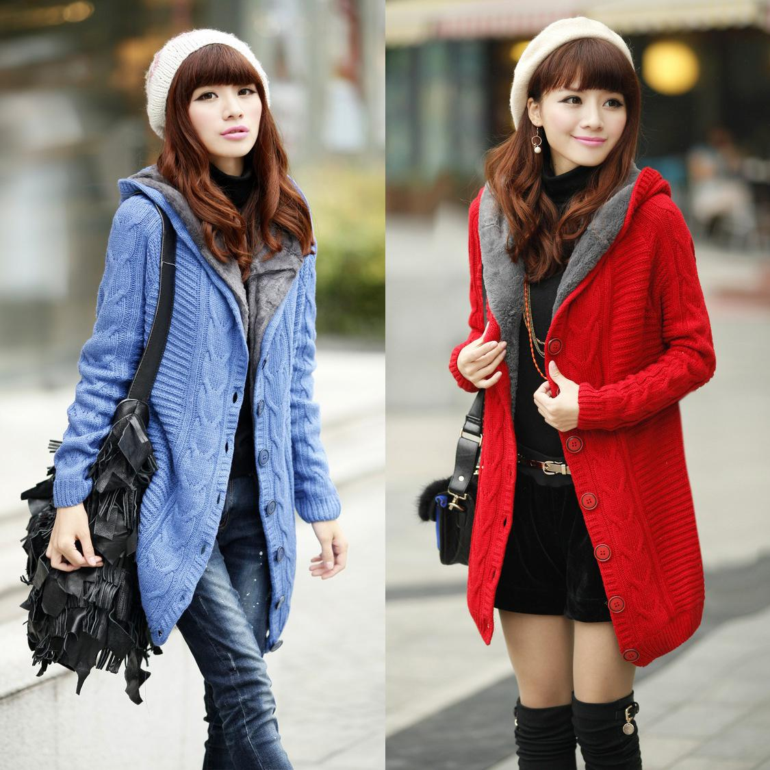 Best Wholesale Winter Women Fleece Lining Cardigan Women, Warm ...