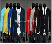 Wholesale Cardigan Sweater Vest Men - Wholesale-Mens Cotton Casual V-Neck Sweater Cardigan Slim Knitwear Jumper men's Sweater jacket men vest